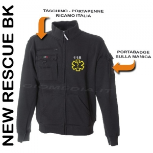 Felpa New Rescue Bk Con Porta Penne, Taschino Zip, Portabadge.