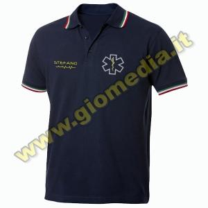 Polo Blu Navy Con Inserti Tricolore - Personalizzabile