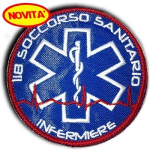 """PATCH RICAMATA ROTONDA """"MEDICO"""" CON VELCRO"""