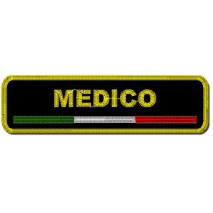Etichetta Patch ricamata 10x2 cm MEDICO + ITALIA