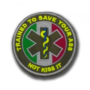 "PATCH RICAMATA ""TRAINED TO SAVE TOUR ASS NOT KISS IT"" MILITARY"