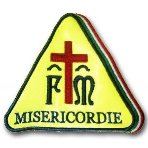 Etichetta Patch Ricamata Nuova Misericordia con tricolore 9x7,5 Cm