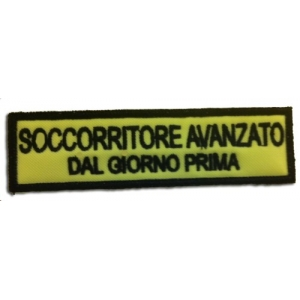 """Etichetta Patch ricamata Umoristica """"SOCCORRITORE AVANZATO..."""""""