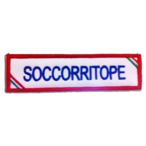 """Etichetta Patch ricamata Umoristica """"soccorriTOPE"""""""